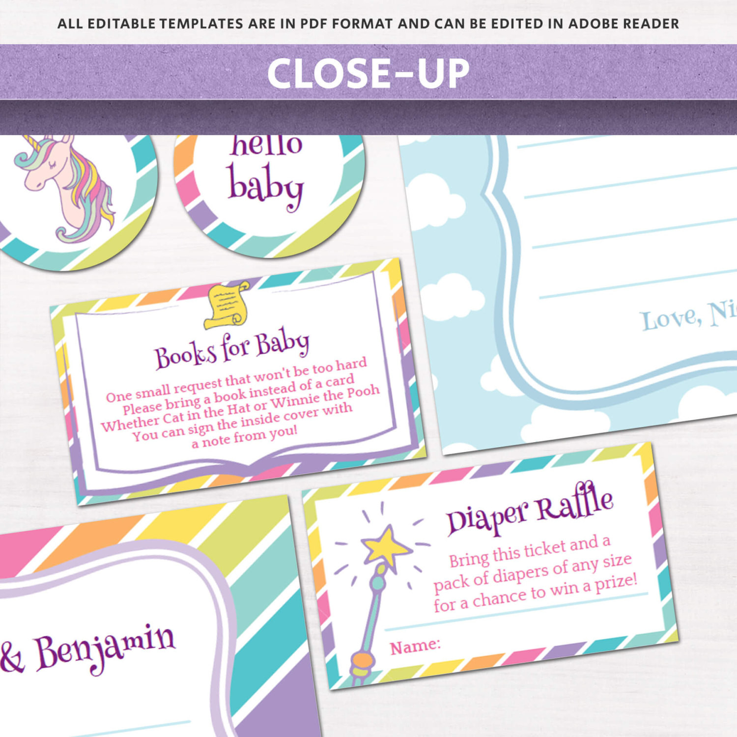 Diy Baby Shower Invitations Kits  Unicorn & Rainbows Baby Shower Invitation Kit
