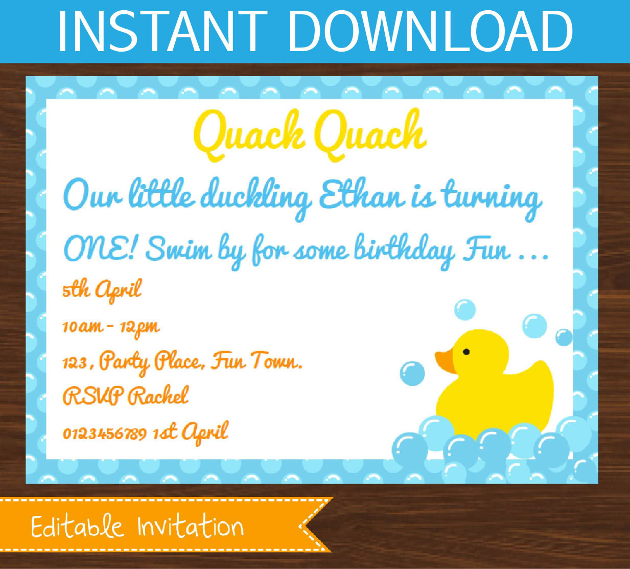 Diy Baby Shower Invitations Kits  Rubber ducky baby shower invitation editable DIY Printable Kit