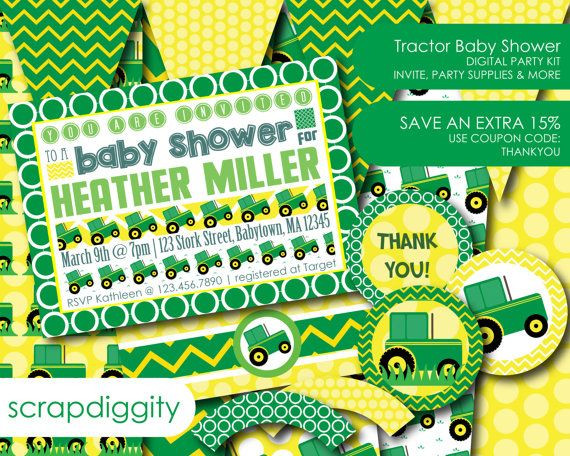Diy Baby Shower Invitations Kits  Baby Shower DIY Kit Tractors