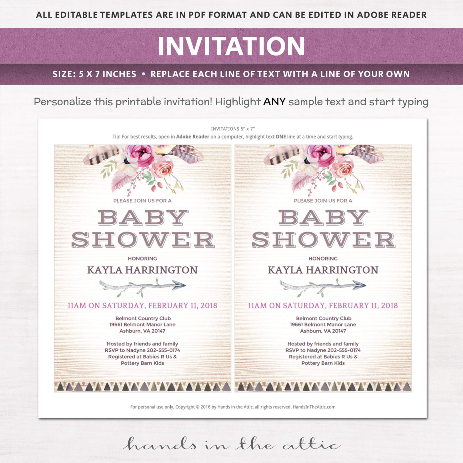 Diy Baby Shower Invitations Kits  Boho Baby Shower Invitation Kit