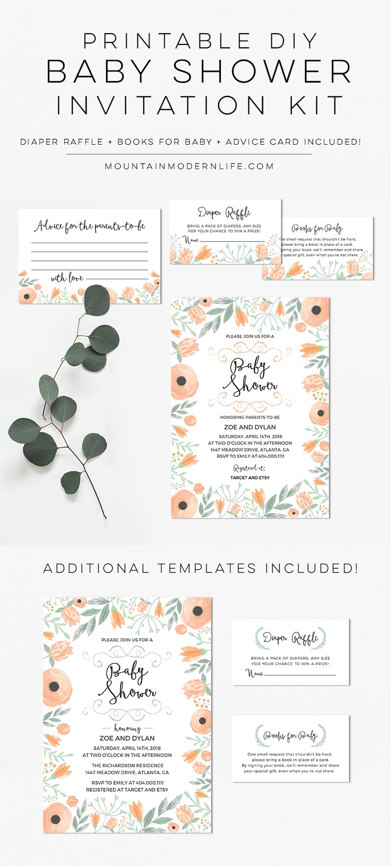 Diy Baby Shower Invitations Kits  Printable Floral DIY Baby Shower Invitation Kit