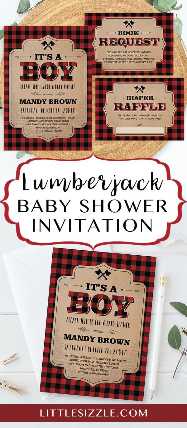 Diy Baby Shower Invitations Kits  Rustic Baby Shower Invitation Kit Templates with Buffalo