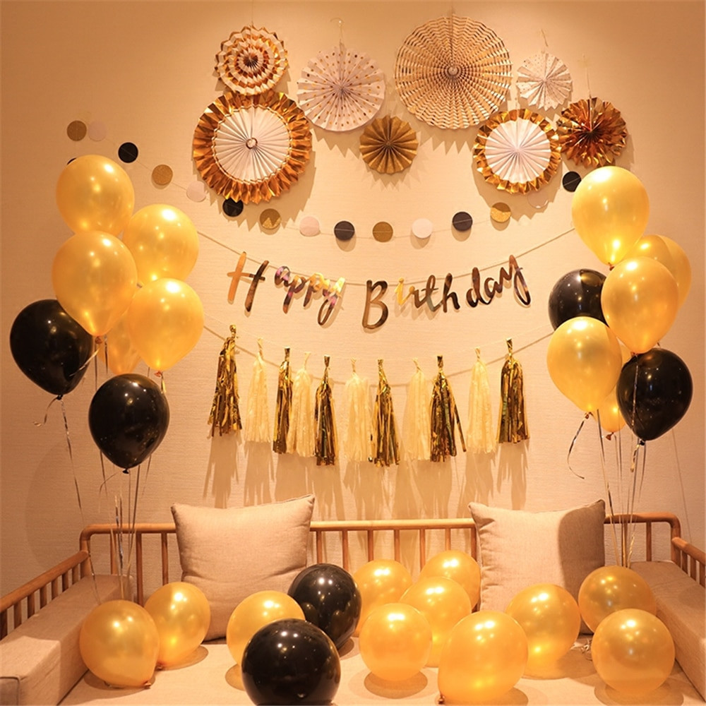 DIY Birthday Decorations For Adults  Creative Black Gold Balloon Happy Birthday Flag Adult