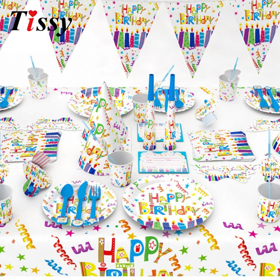DIY Birthday Decorations For Adults  Happy Birthday Series Disposable Tableware Paper Material