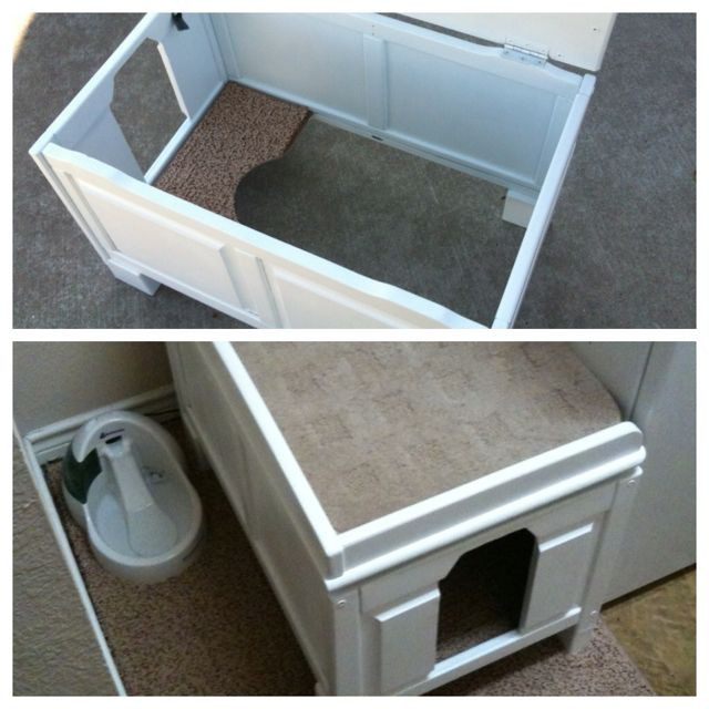 DIY Cat Litter Box Cover  My DIY cat litter box cover I took an old wooden toy box