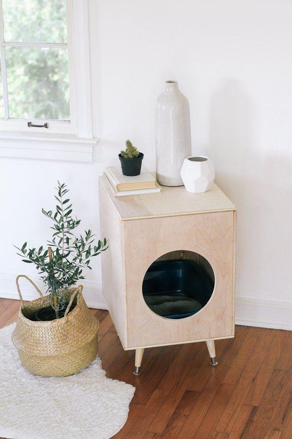 DIY Cat Litter Box Cover  DIY Modern Plywood Kitty Litter Box