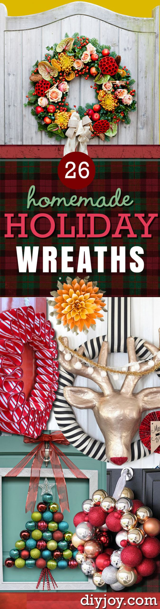 DIY Christmas Decorations Pinterest  26 Most Beautiful DIY Holiday Wreaths Ever