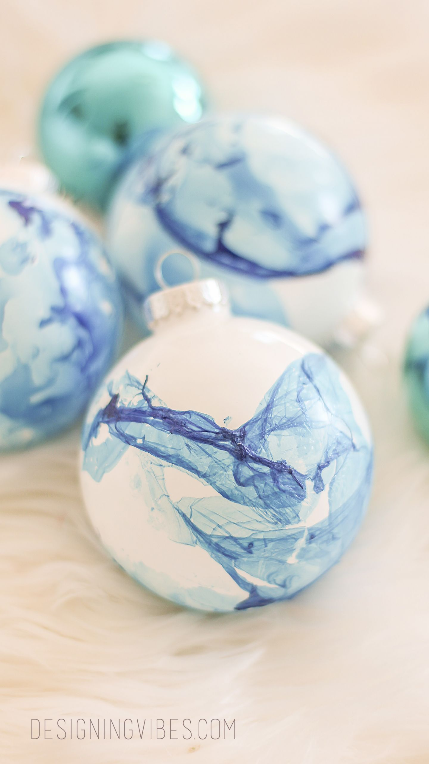 DIY Christmas Ornaments With Pictures  Easy Marbled Christmas Ornaments DIY Cheap Holiday Crafts