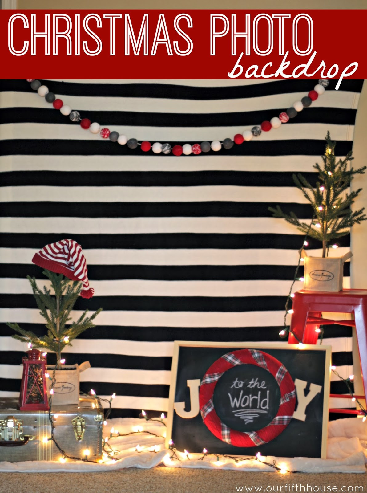 DIY Christmas Photography Backdrop  easy christmas photo backdrop Our Fifth House