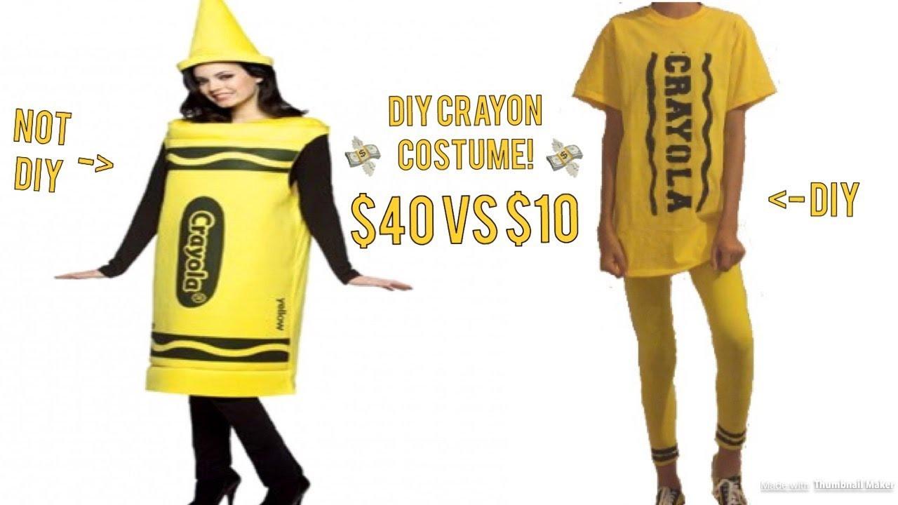 DIY Crayon Costume  DIY UNDER $10 Crayon Costume For Halloween