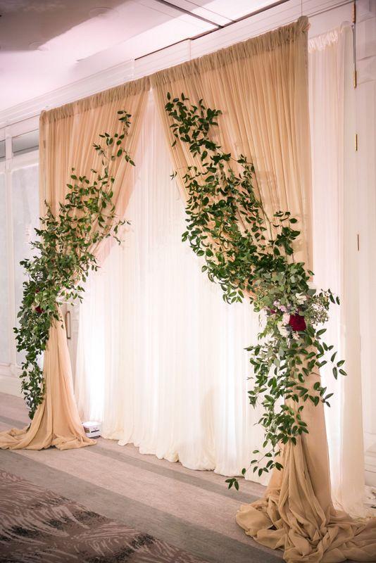 DIY Draping For Wedding  Draping and greenery at altar
