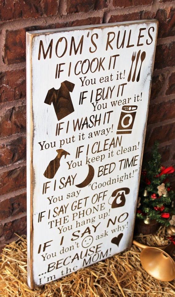 DIY Gift For Your Mom  Gifts For Mom Mom s Rules Rustic Wood Sign by