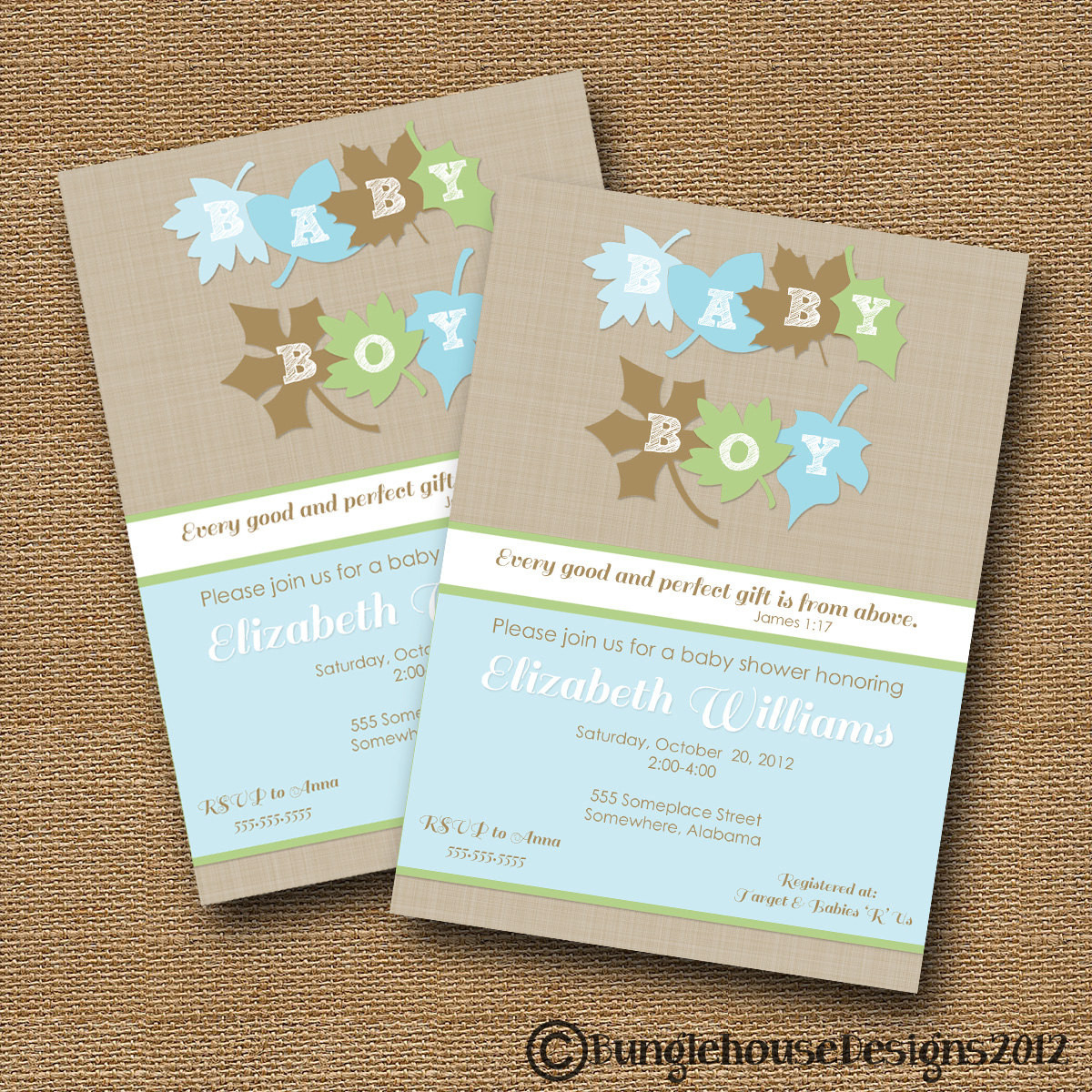 DIY Invitations Baby Shower  Fall Leaves Baby Shower Invitation DIY by bunglehousedesigns