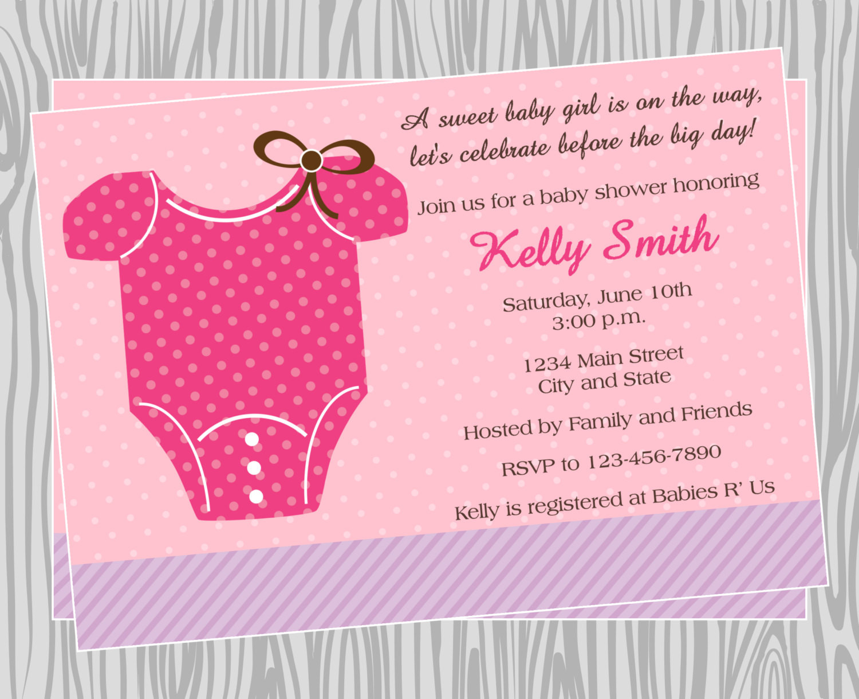 DIY Invitations Baby Shower  DIY Baby Girl esie Baby Shower Invitation by