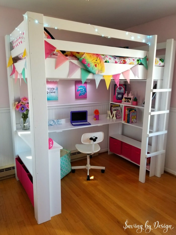 Diy Kids Bed With Storage  How to Build a Wooden Loft Bed with Desk and Storage for