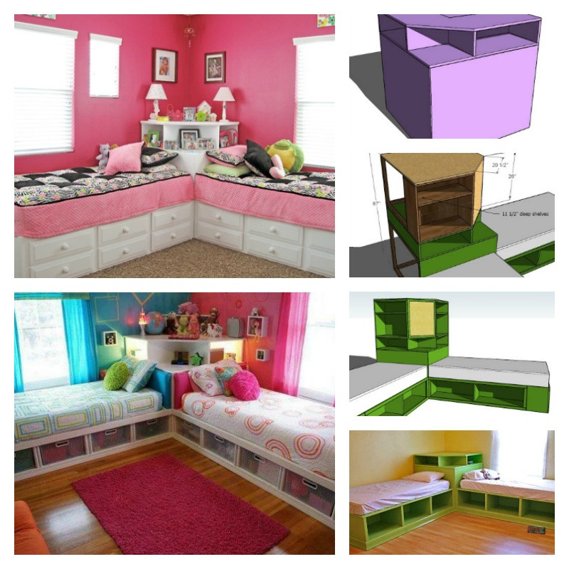Diy Kids Bed With Storage  DIY Corner Unit for the Twin Storage Bed Space Saving Idea