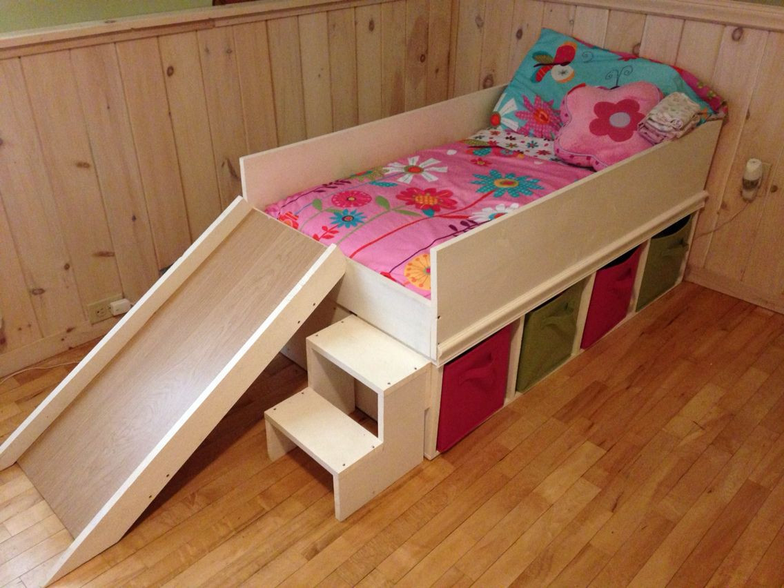 Diy Kids Bed With Storage  DIY toddler bed with slide and toy storage