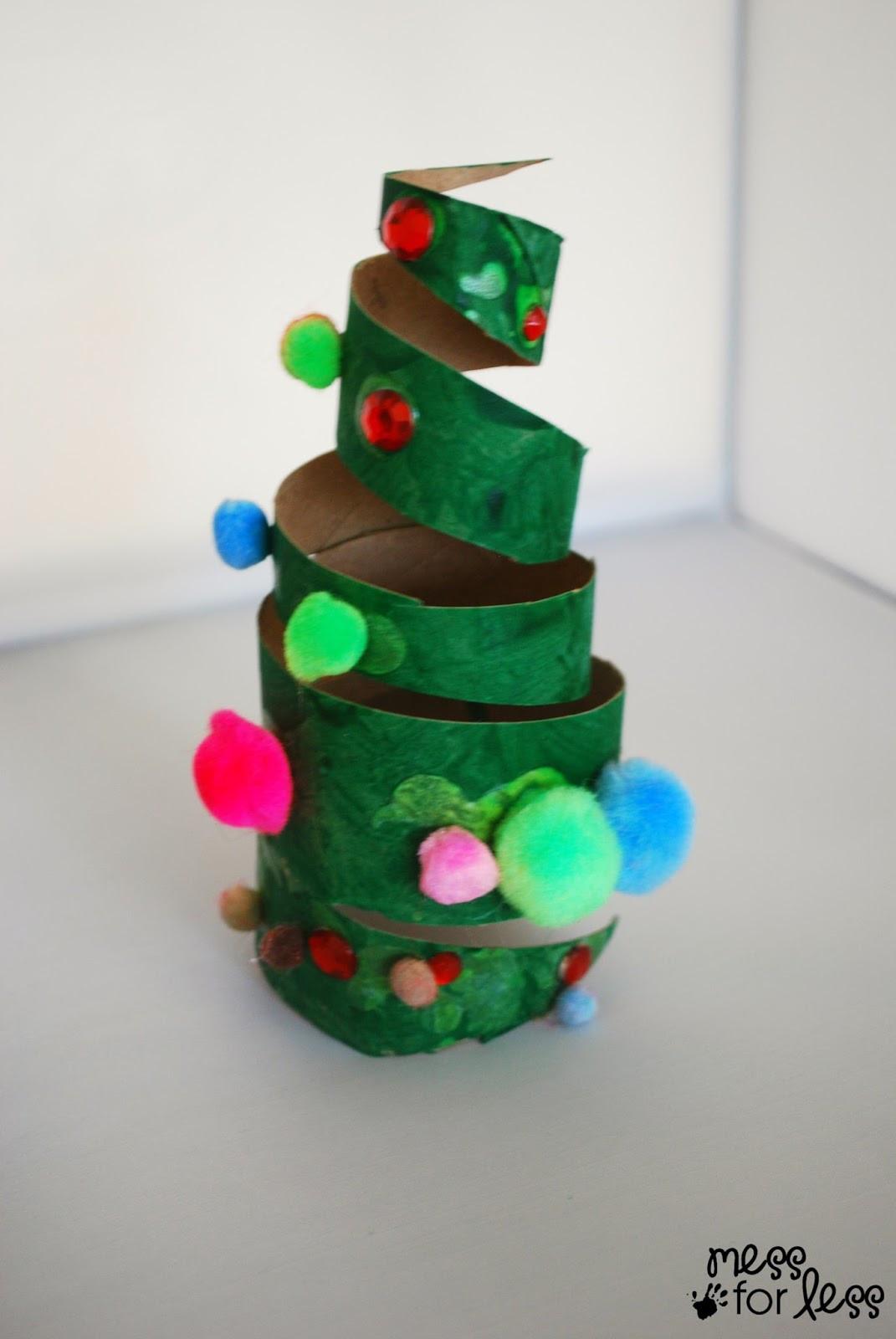 DIY Kids Christmas Craft  Christmas Crafts for Kids Cardboard Tube Christmas Tree