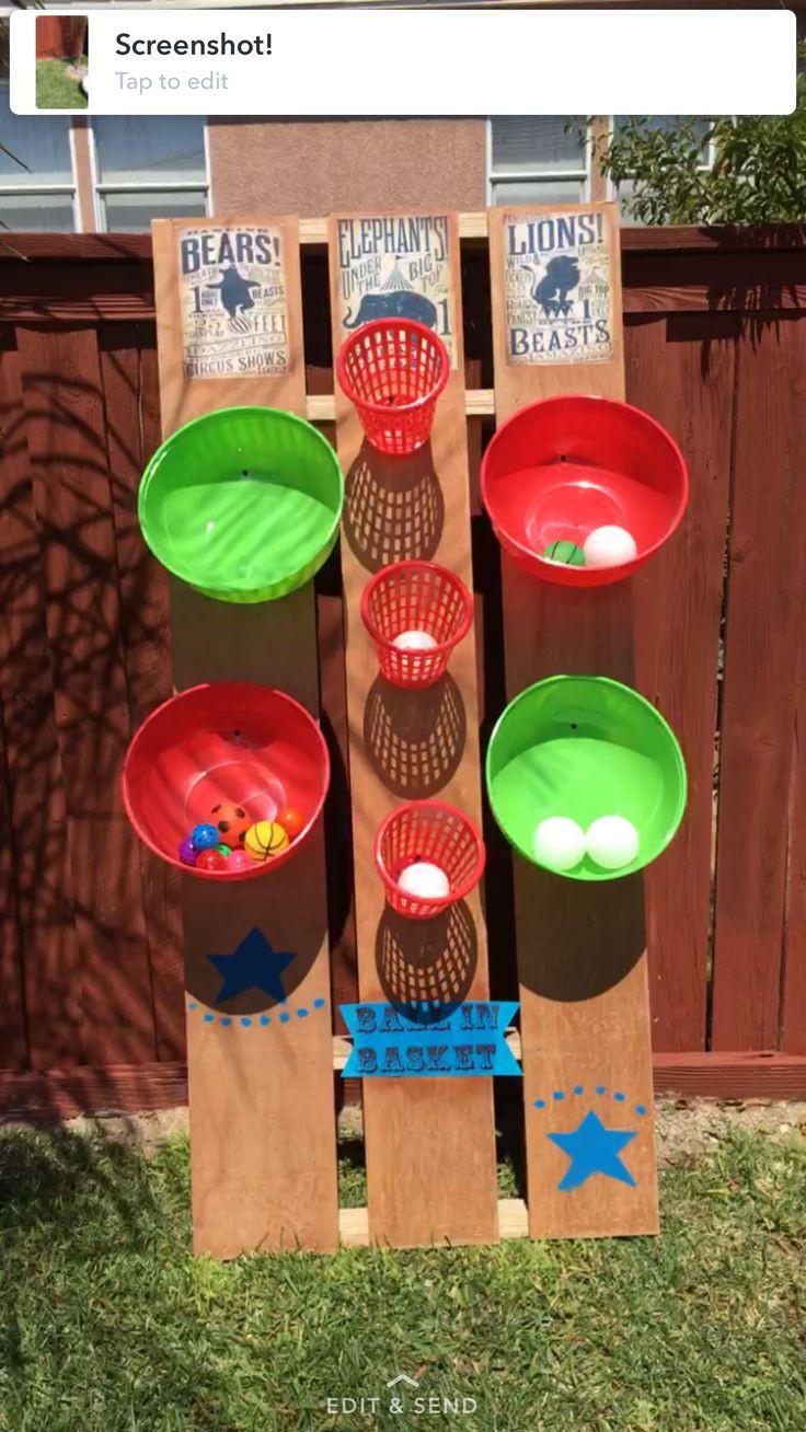 DIY Kids Party Games  DIY Carnival Game ball in basket circus 1st birthday