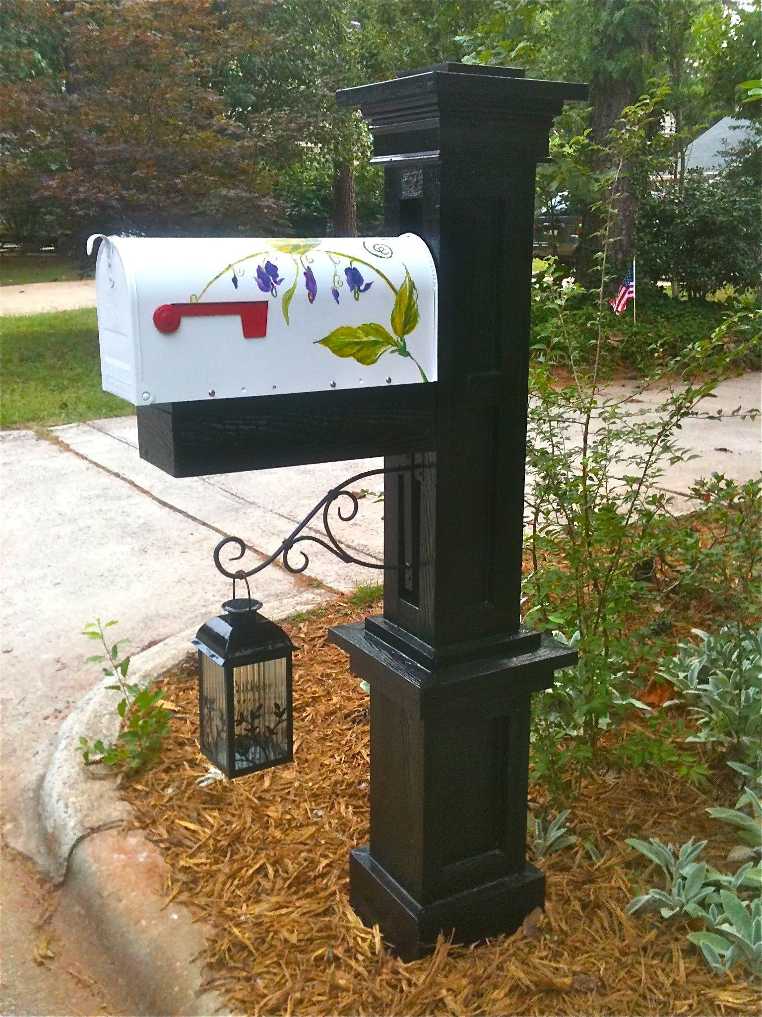 DIY Mailbox Post  My husband built the post and I painted the mailbox you