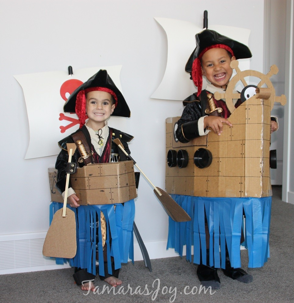 DIY Pirate Costumes For Kids  Easy Kids Pirate Costume Made from Cardboard ⋆ Tamara s Joy