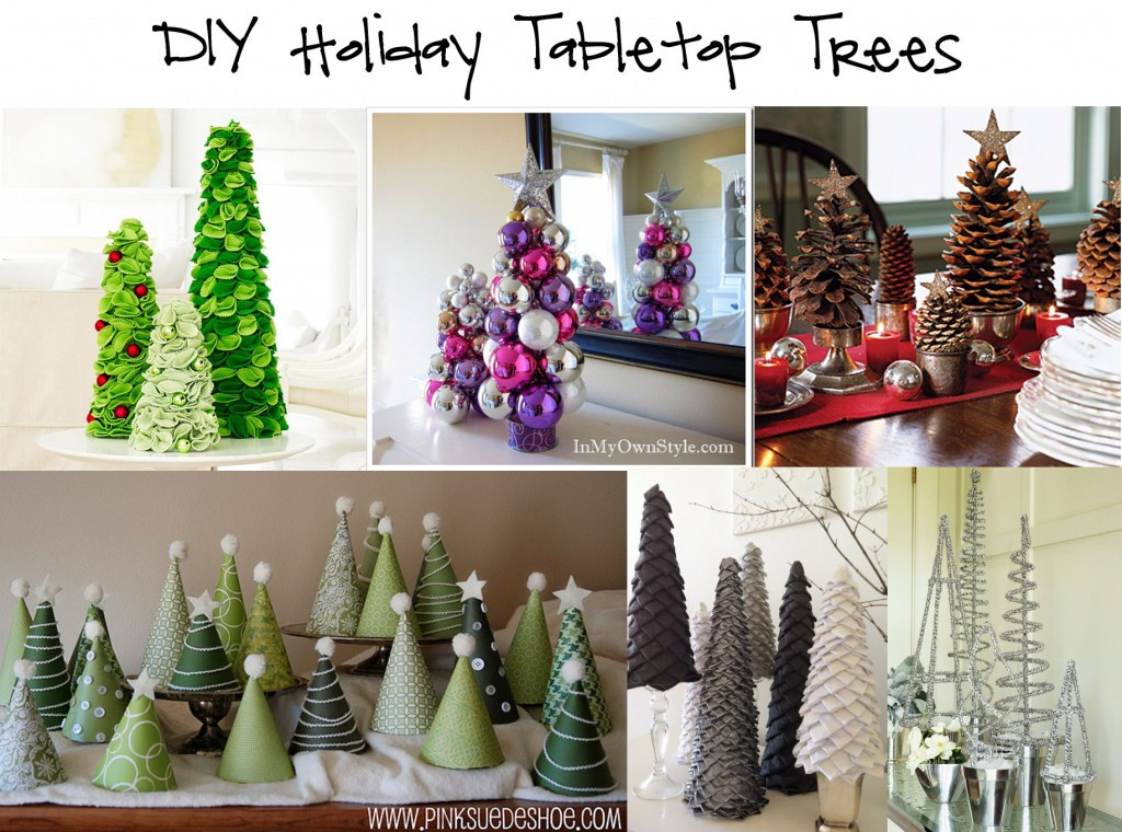 DIY Tabletop Christmas Tree  Round up DIY Holiday Tabletop Trees in the know mom