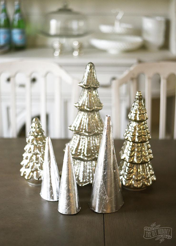 DIY Tabletop Christmas Tree  Make Silver Leaf Paper Trees for Christmas Tabletop Decor