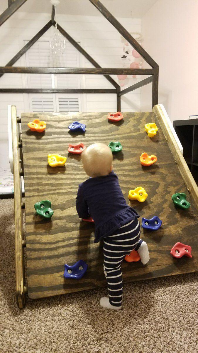 DIY Toddler Climbing Wall  DIY Pikler Triangle Toddler Rock Climbing Wall