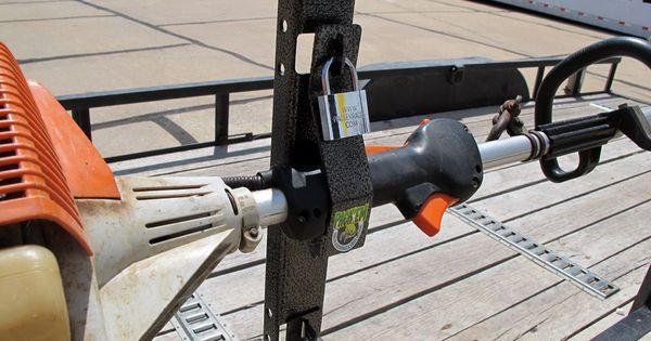 DIY Weed Eater Rack  Pack Em Trimmer Rack for Open Utility Trailers