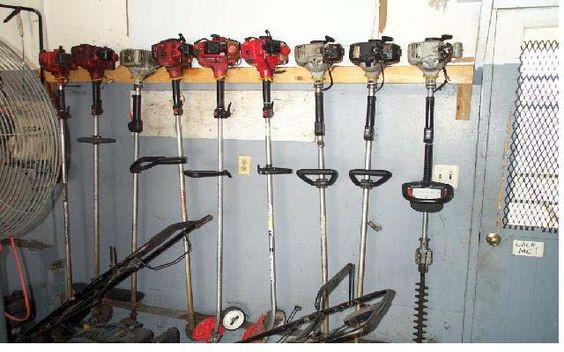 DIY Weed Eater Rack  store weed eater Outdoor Projects Pinterest