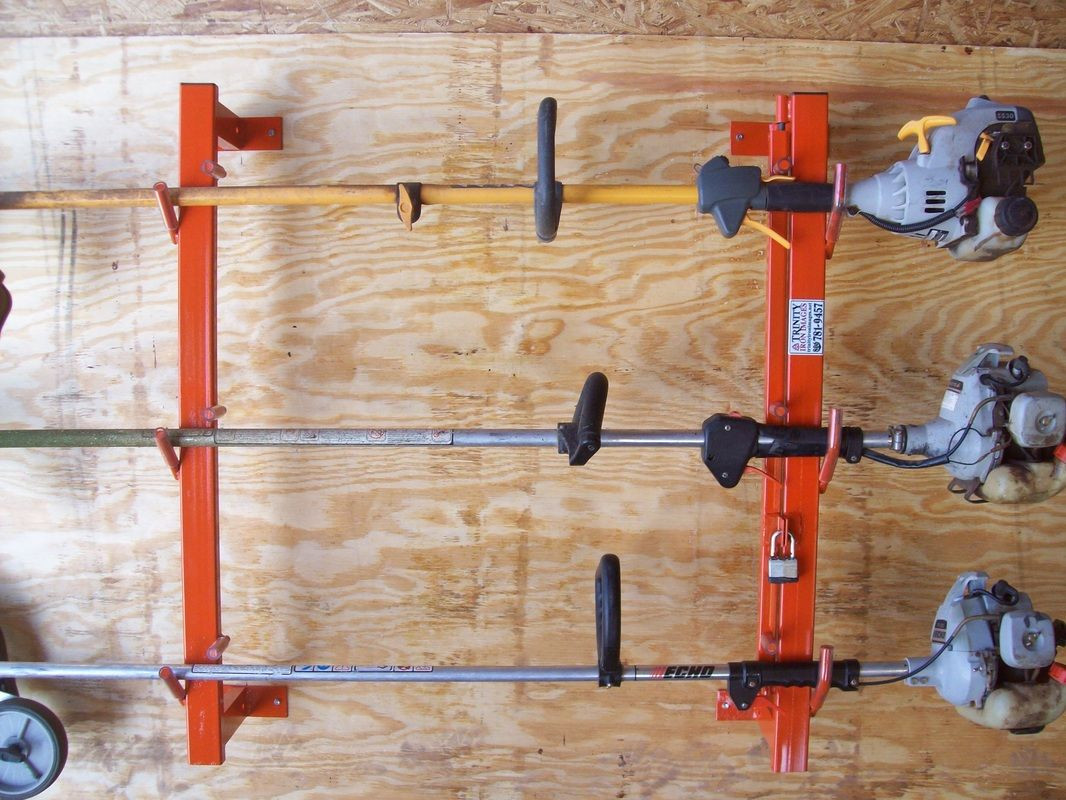 DIY Weed Eater Rack  how to store weed eater trimmer edge rack for trailer