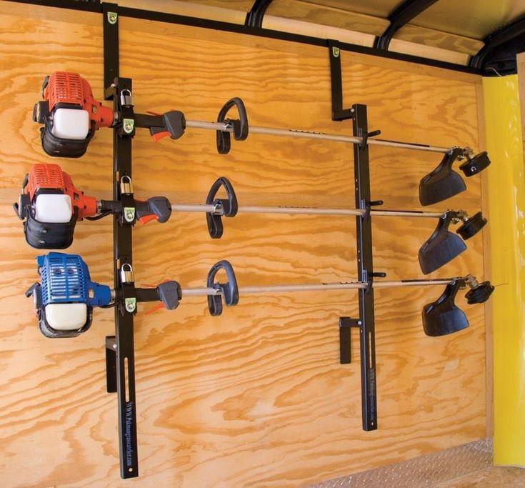DIY Weed Eater Rack  3 Place Weedeater Trimmer Trailer Racks Enclosed Lockable