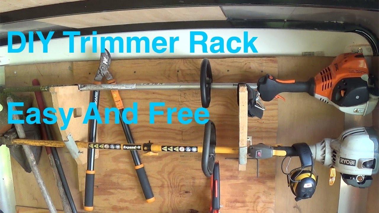DIY Weed Eater Rack  DIY Trimmer Rack anybody can make