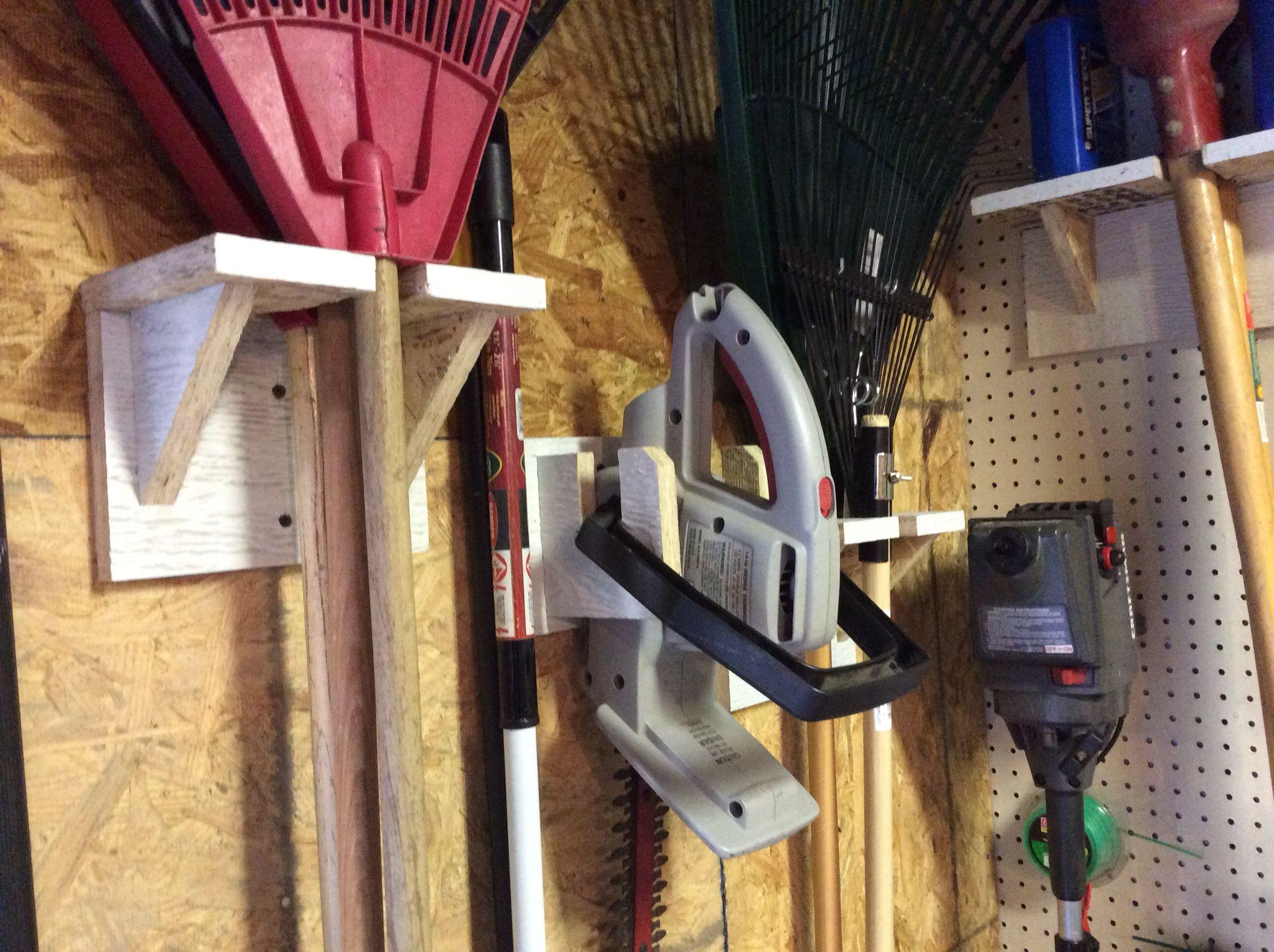 DIY Weed Eater Rack  Rake storage racks and hedge trimmer storage rack Made