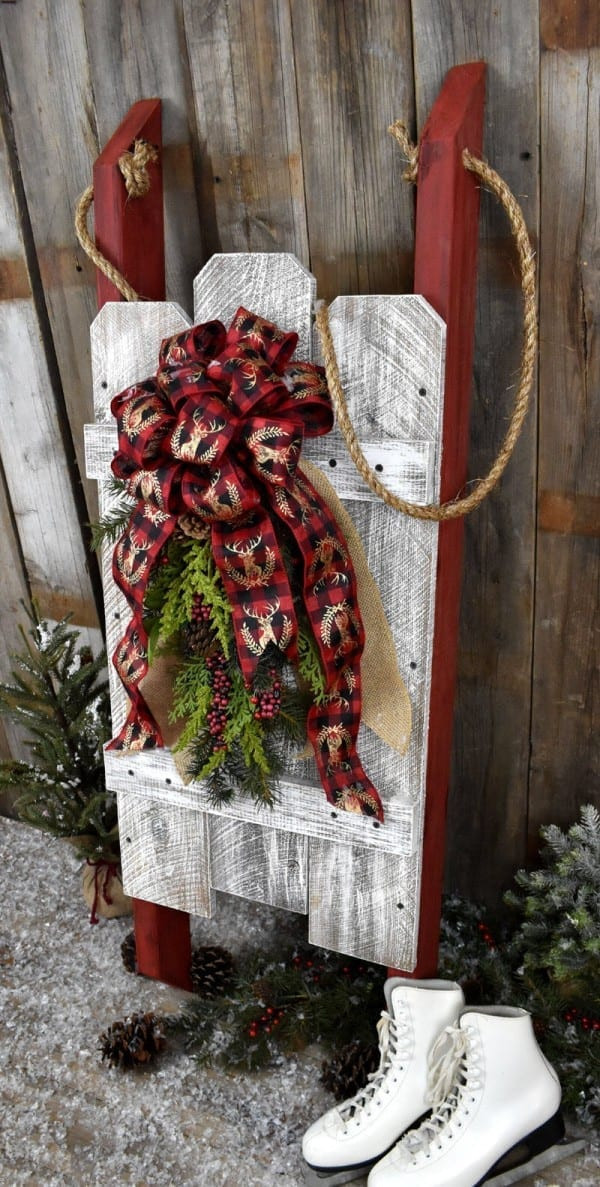 DIY Wooden Christmas Decorations  DIY Rustic Wooden Christmas Sled Winter and Holiday