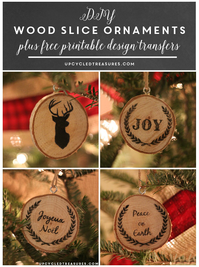 DIY Wooden Christmas Decorations  DIY Wood Slice Christmas Ornaments Upcycled Treasures