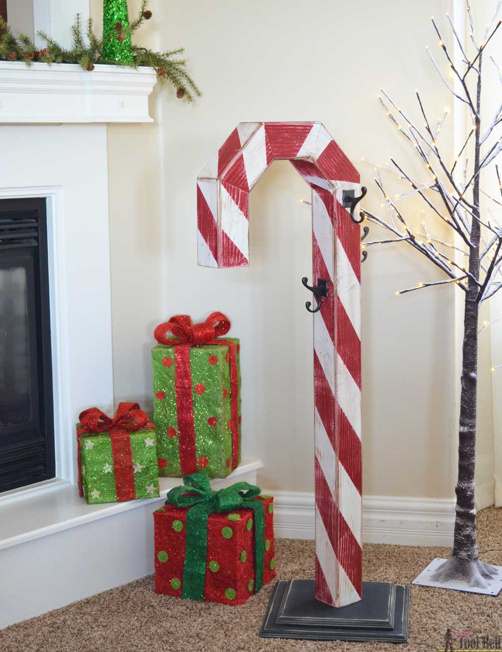 DIY Wooden Christmas Decorations  Candy Cane Holiday Stocking Post Her Tool Belt