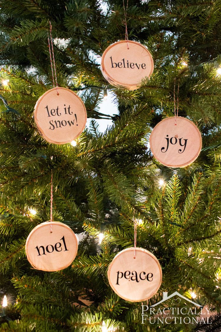 DIY Wooden Christmas Decorations  DIY Wood Slice Christmas Ornaments