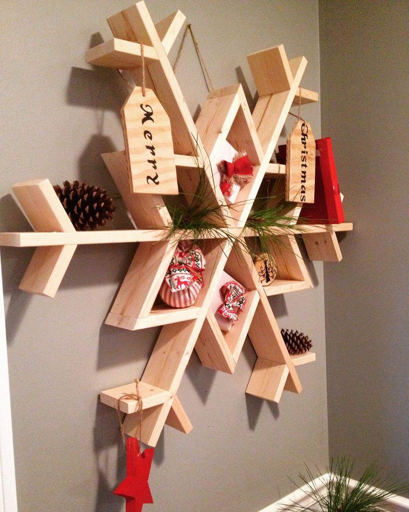 DIY Wooden Christmas Decorations  Let It Snow My DIY Wooden Snowflake Shelf