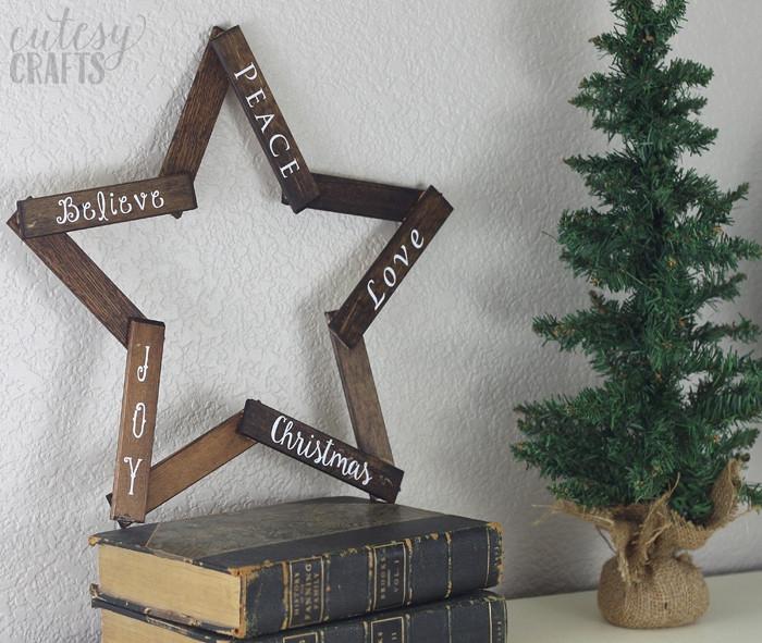 DIY Wooden Christmas Decorations  Wooden Star DIY Christmas Decoration Cutesy Crafts