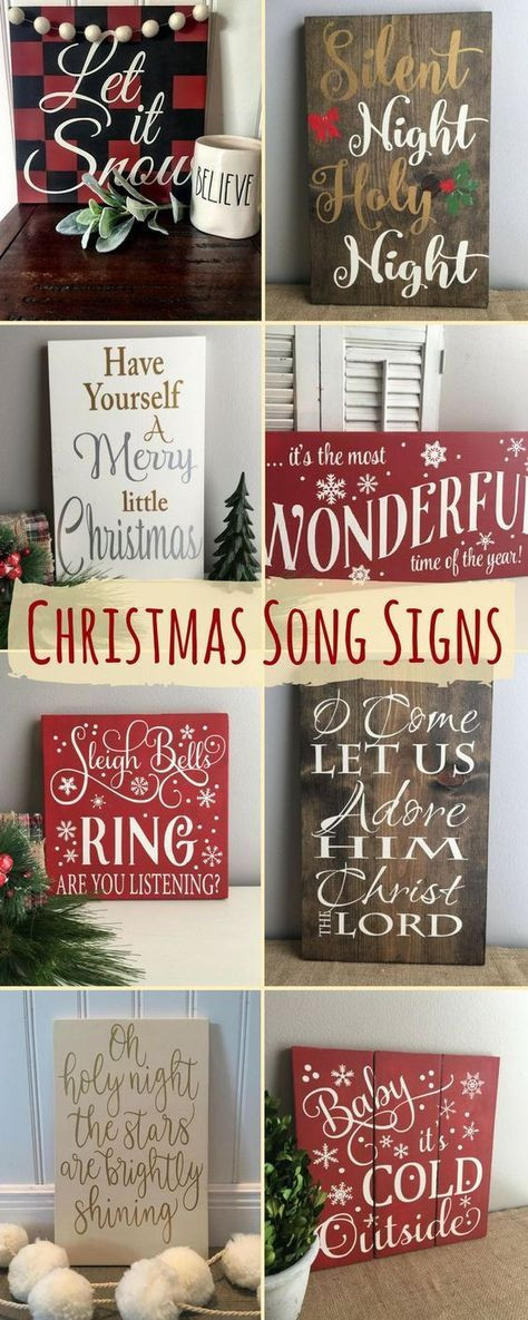 DIY Wooden Christmas Signs  Christmas Song Signs Home Decor