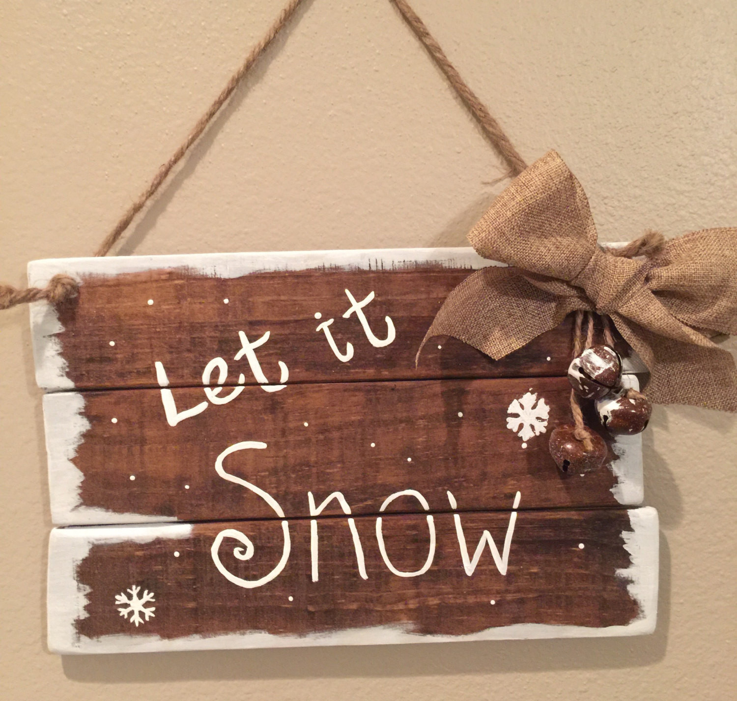 DIY Wooden Christmas Signs  Wooden Christmas signs Farmhouse Christmas decor Let it