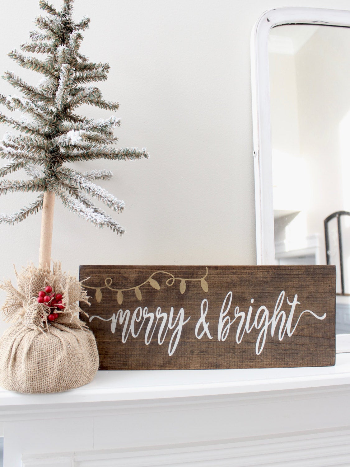 DIY Wooden Christmas Signs  Christmas Wood Stained Sign Rustic Holiday Sign Decor by