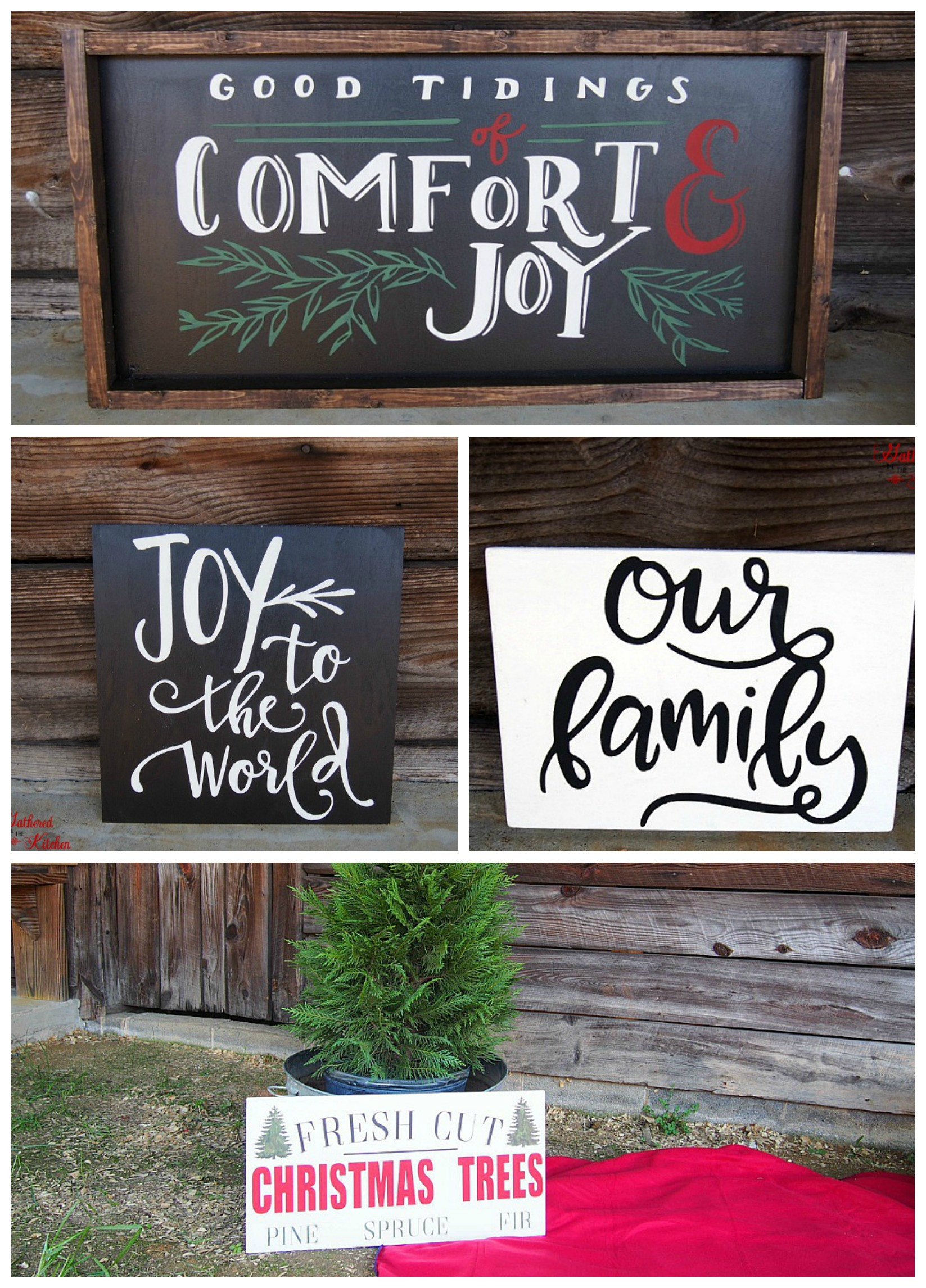 DIY Wooden Christmas Signs  DIY Christmas Themed Winter Wooden Signs Gathered In The