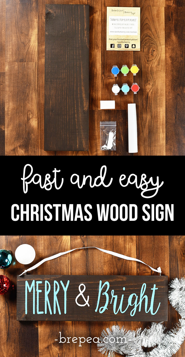 "DIY Wooden Christmas Signs  Fast and Easy ""Merry & Bright"" Christmas Wood Sign DIY"