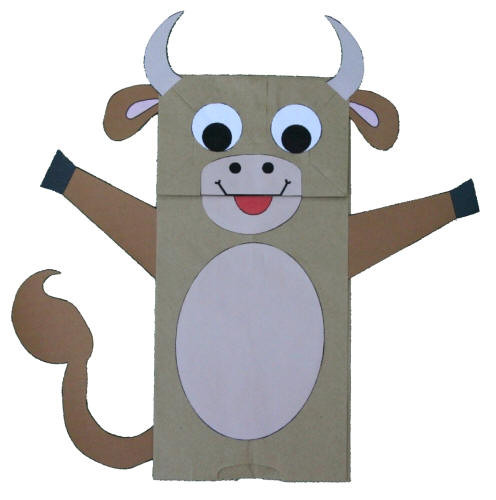 Dltk Crafts For Kids  Paper Bag Cow Puppet