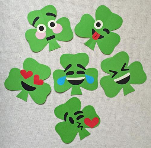 Dltk Crafts For Kids  Shamrock Shaped Emoji Paper Craft