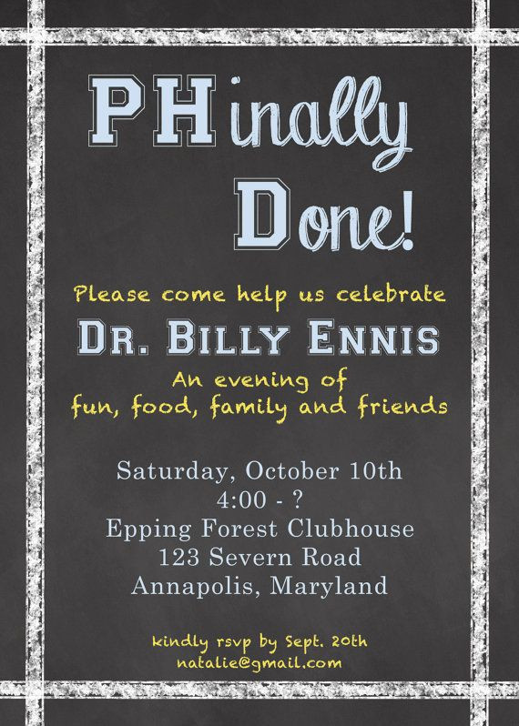 Doctoral Graduation Party Ideas  PhD Invitation PHinally Done Doctoral Graduate by