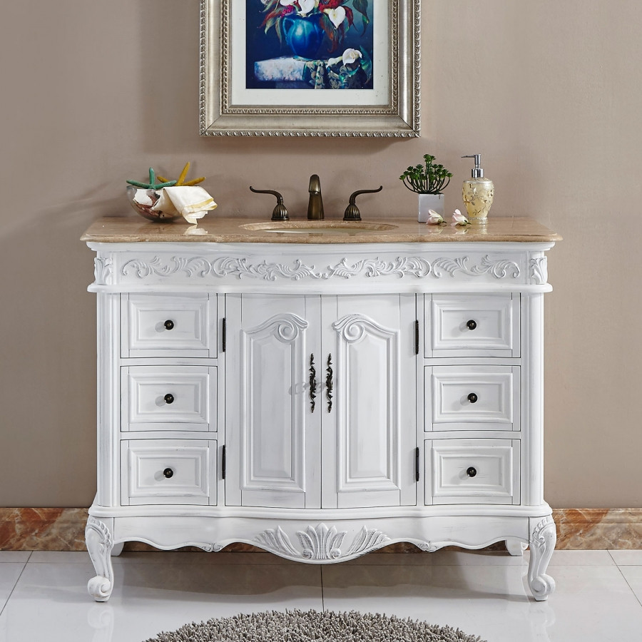Dresser Bathroom Vanity  48 Inch Furniture Style Single Bathroom Vanity in White