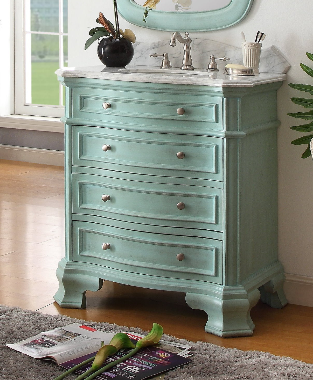 Dresser Bathroom Vanity  32 inch Bathroom Vanity 3 Drawers Coastal Cottage Beach